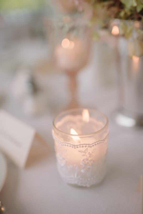 Add lace to a simple votive | Style Me Pretty  Photography by paperantler.com