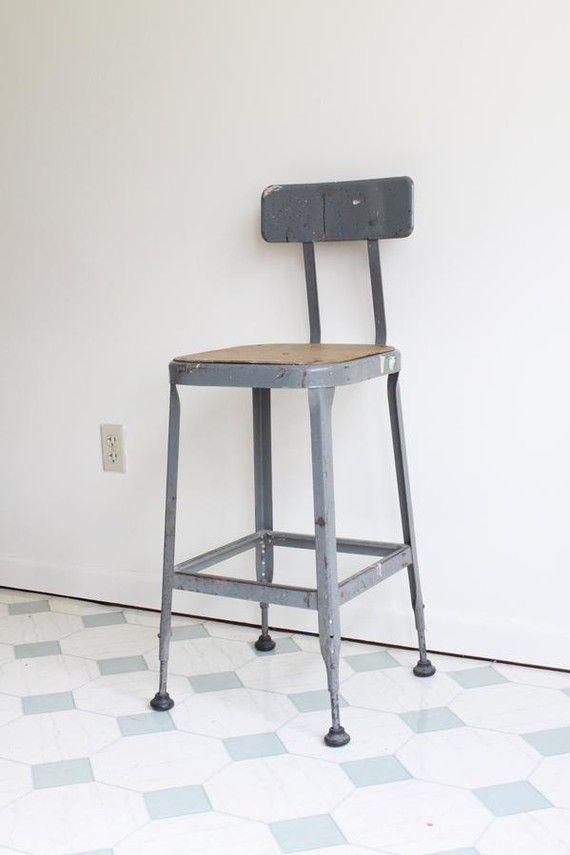 vintage industrial shop stool