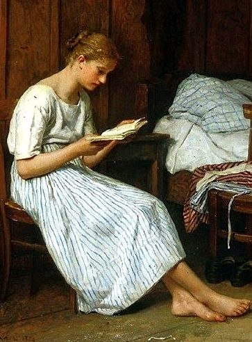 """""""A Gotthelf reader"""". Oil on canvas. Date 1884. Albert Samuel Anker (1831 – 1910). Swiss painter"""