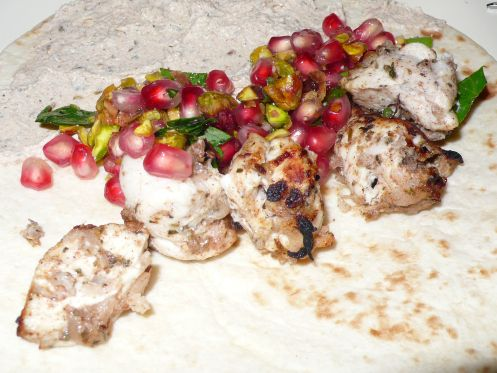 Turkish Spiced Chicken Kebabs with Pomegranate Relish and Tahini ...