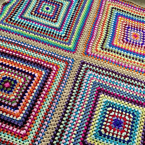 Crochet Queen Size Blanket Pattern : Blanket - Queen size 76x76 - custom granny square - Any color/siz...