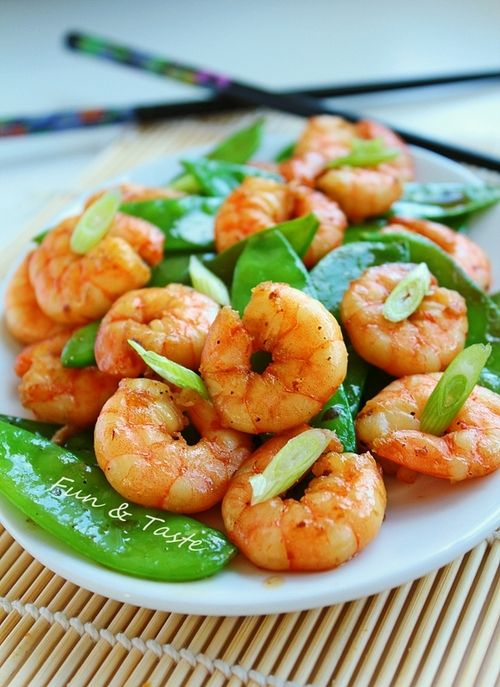 shrimp with snow peas | Food: healthy options | Pinterest
