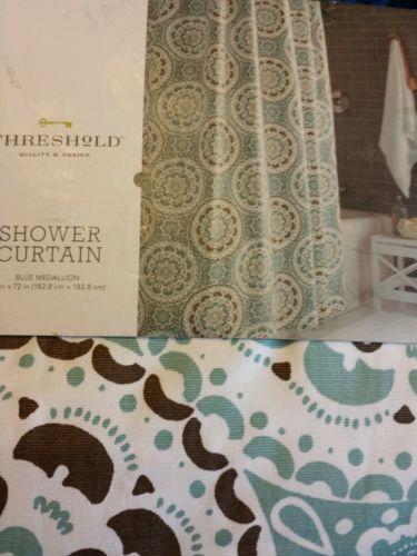 Aqua And Brown Shower Curtain Threshold target home aqua