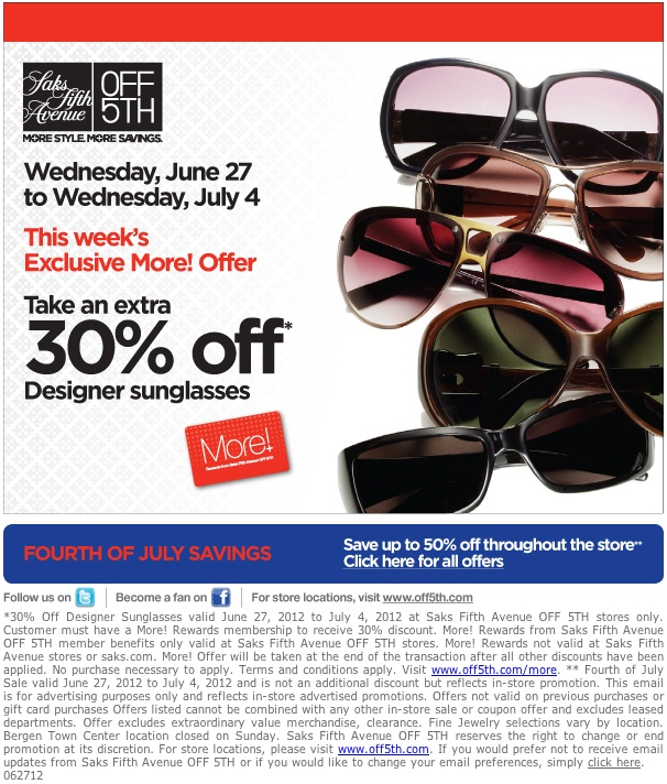 Saks off fifth coupon code august 2018