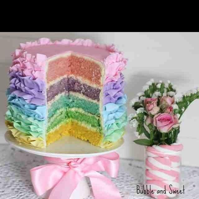 Pastel rainbow layer cake | 1st Communion | Pinterest