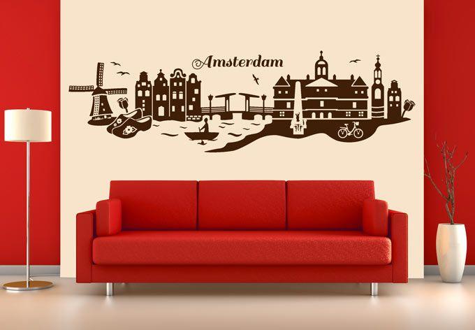 laptop messenger bags Muursticker Amsterdam Skyline  ideas