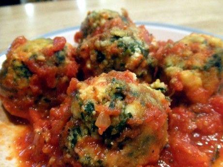 "Spinach Tofu Gnudi balls ""naked ravioli"""
