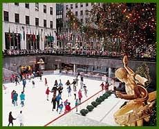 Ice skating at Rockefeller Center at Christmastime