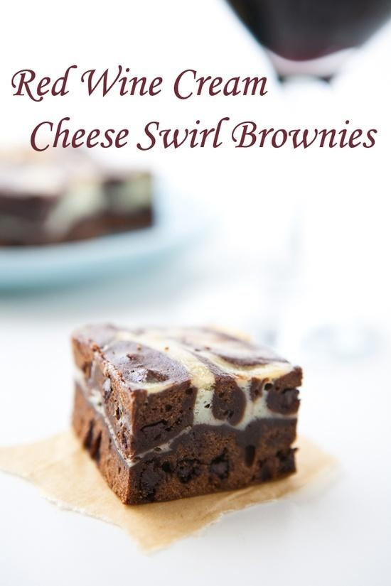 Red Wine Cream Cheese Swirl Brownies | yammy yammy | Pinterest