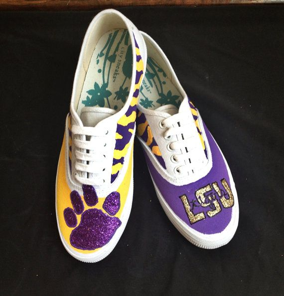 Handmade LSU shoes by BilaBliss on Etsy, $45.00