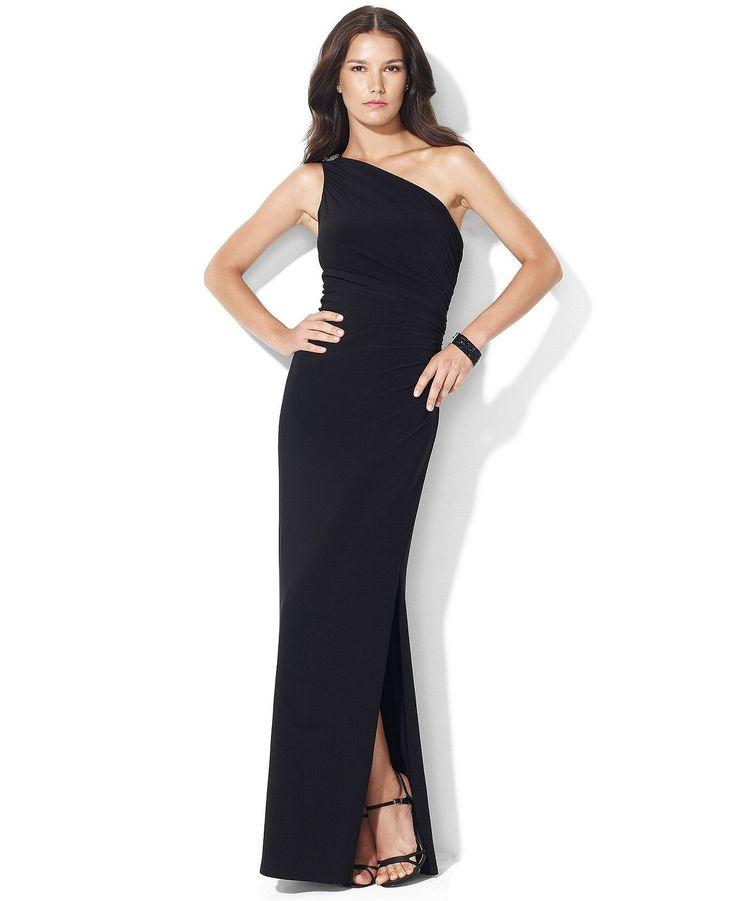 Lauren Ralph Lauren One Shoulder Evening Gown