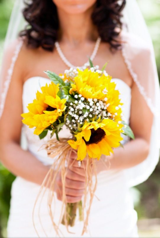 Memorable Wedding Sunflower Bridal Bouquet