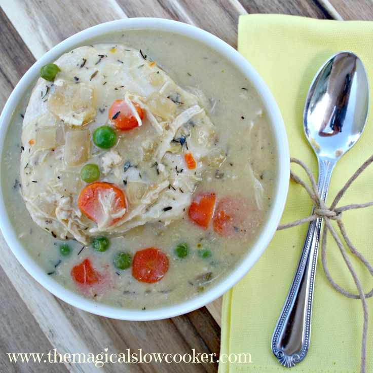 Slow Cooker Chicken and Dumplings, so easy to make, the dumplings are ...