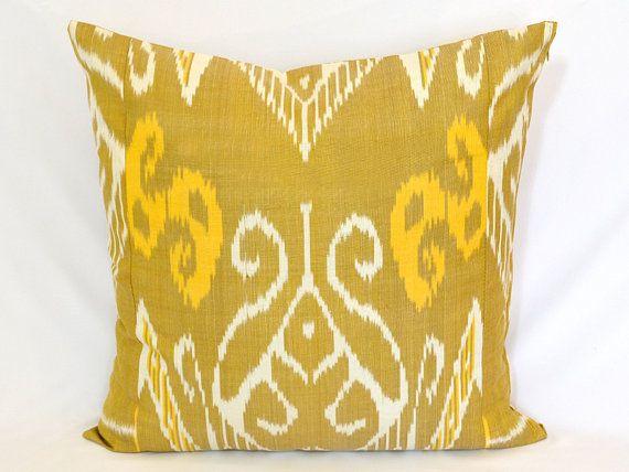 Goldenrod Throw Pillow : GOLDENROD IKAT PILLOW. 20 x 20 inch. Silk cotton Uzbek Ikat Pillow co?