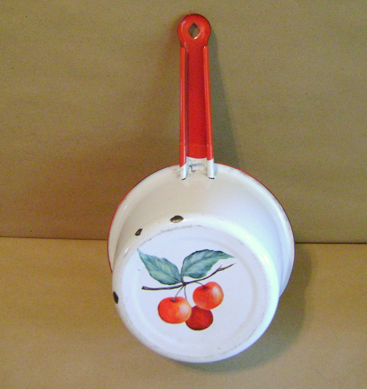 Vintage Red and White Enamelware Saucepan painted with Cherries