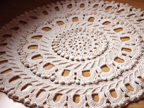 56 Crochet Large Rug Rug Round Crochet Made To by ManCrochets, $130.00