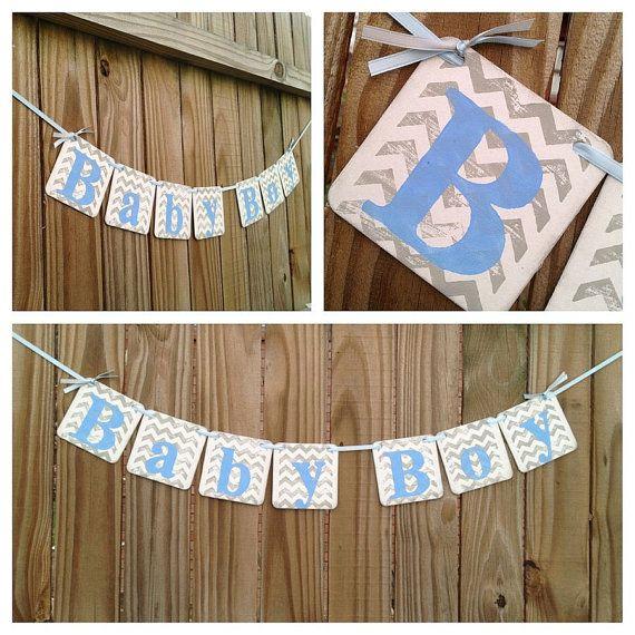 baby shower decorations chevron stripes baby boy banner baby shower