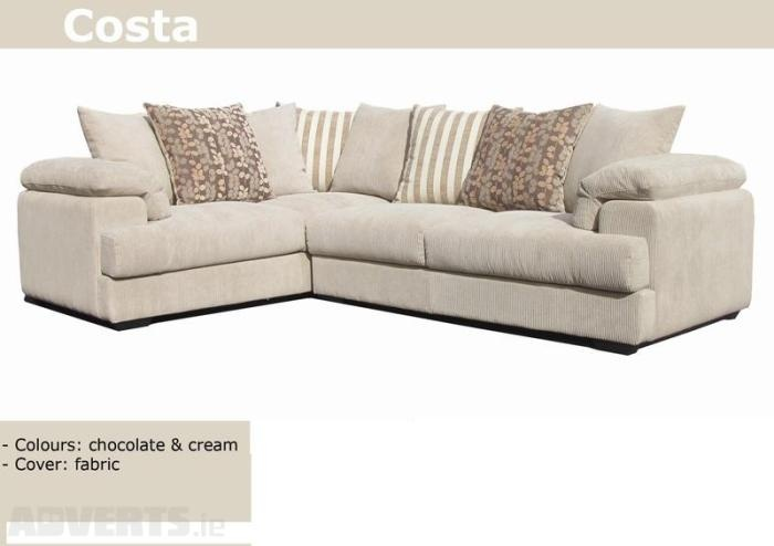 Corner sofa in soft cream cord fabric living room Cream fabric sofa