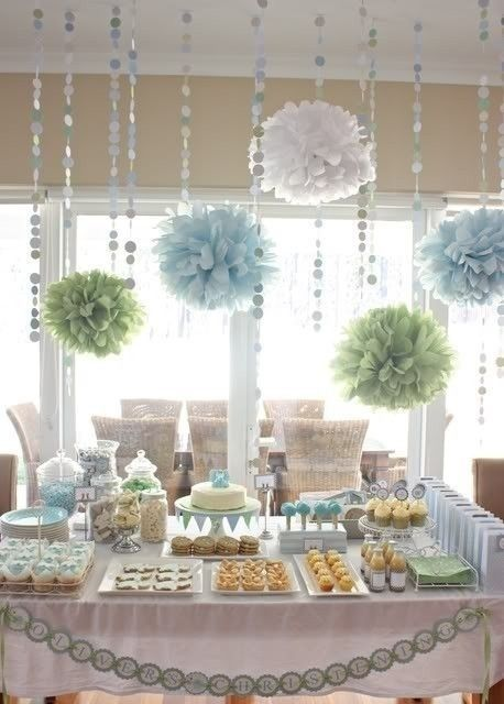 baby boy shower. Heather likes the poms but in brighter versions of these colors (greens, turquoise, blue) trader vicks colors
