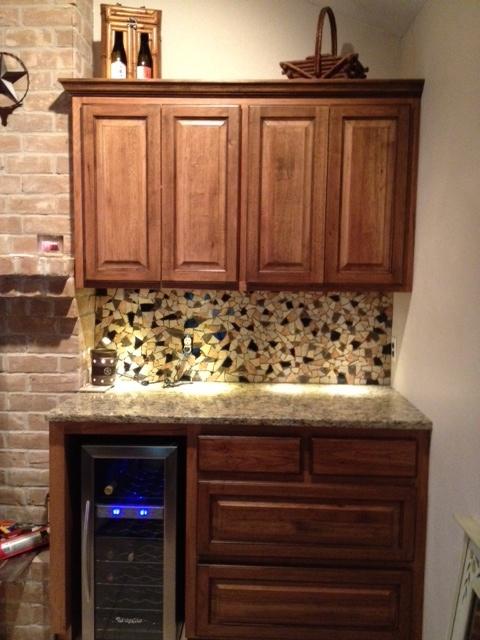 broken tiles used as mosaic backsplash home ideas