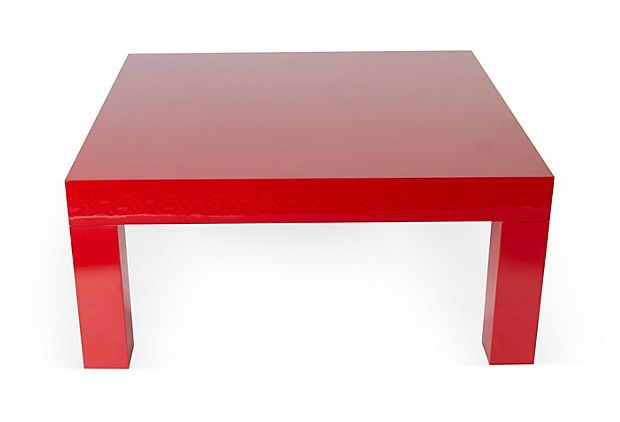 Red Lacquered Coffee Table On