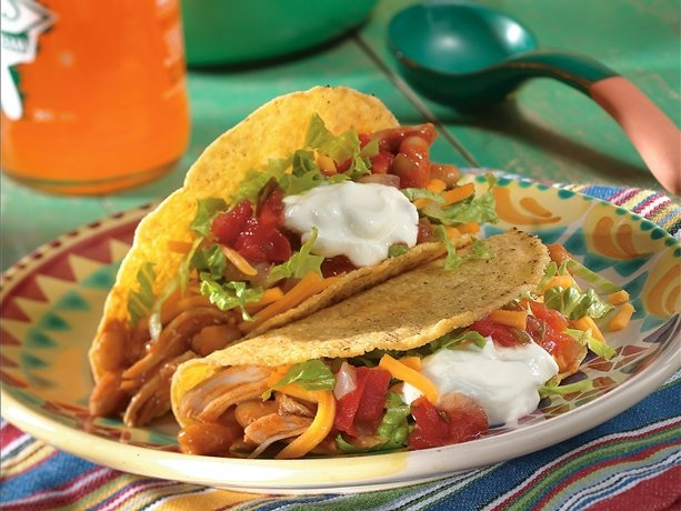 Slow Cooker Chicken & Bean Tacos...a healthy version of taco night!