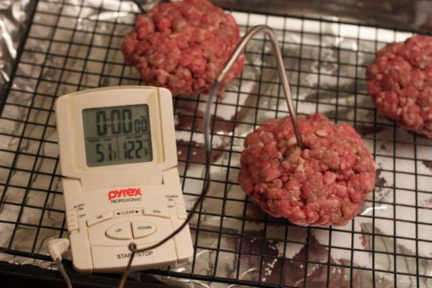 Oven Roasted Hamburgers I spiced up my beef with worcestershire, onion ...