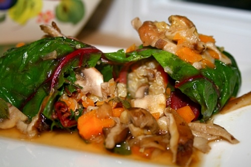 these swiss chard rolls also sound good - mushrooms and quinoa!! yum ...