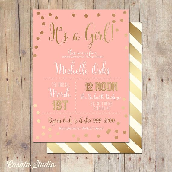 Pink and Gold Baby Shower Invitation Bridal Shower Card 5x7 on Etsy, $ ...