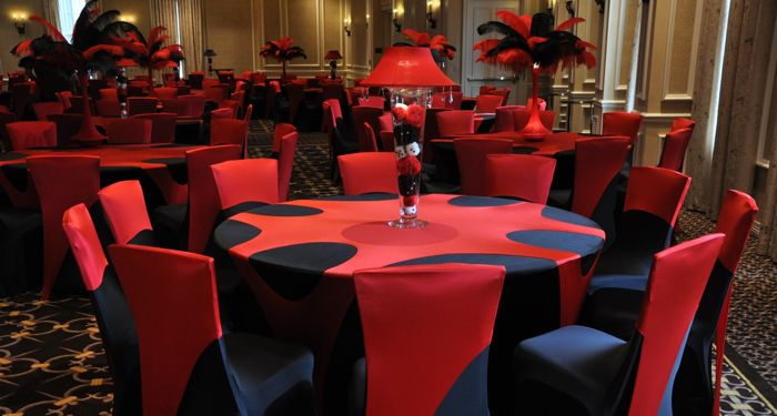 Red Formal Table Decorations Photograph Black