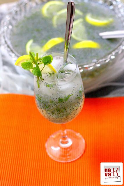 Basil mint lemonade, made with lemon juice, honey, basil seeds and ...