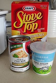 Easy crockpot chicken:  • 4 chicken breasts  •  package of Stove Top stuffing •  sour cream  • cream of chicken soup!