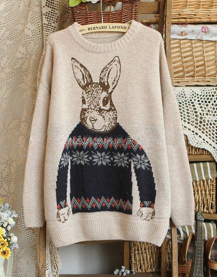 Cartoon Rabbit Vintage Sweater by BernardLafond on Etsy, $24.50