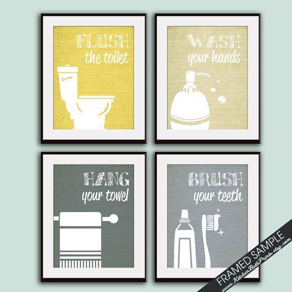 Funny bathroom prints set of 4 8x10 art print for Bathroom design ideas 8x10