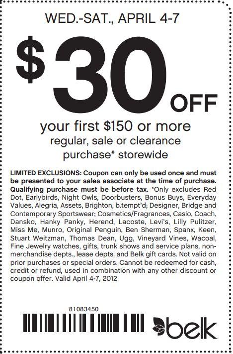 Belk coupon codes january 2018