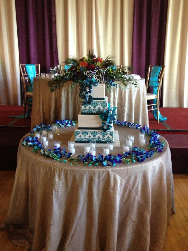 Gold turquoise purple wedding reception decor design for Turquoise gold wedding theme