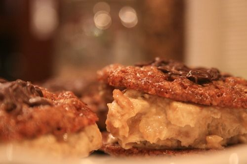 Florentine Cookie Ice Cream Sandwiches with Salted Caramel Ice Cream