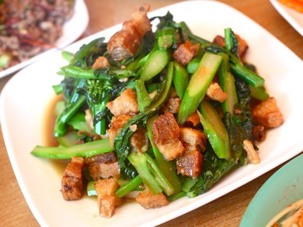 sauteed chinese broccoli w/crispy pork | Eat | Pinterest