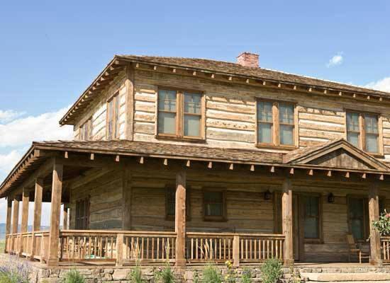 Wrap around porch home pinterest Log barn homes