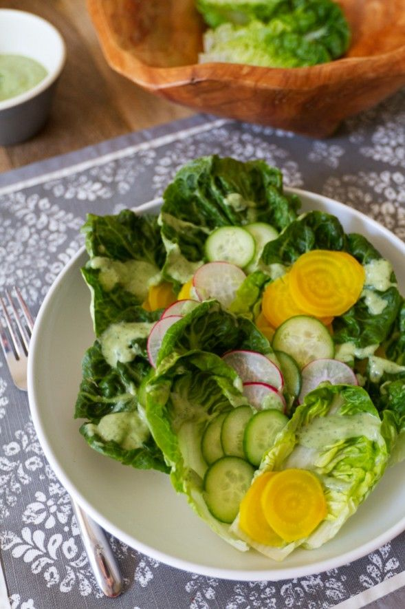 Little Gems Salad Recipe (with avocado green goddess dressing)