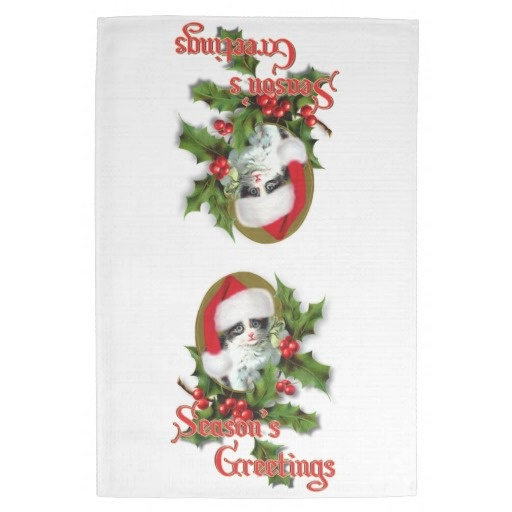 sold! Old Style #Christmas Kitten Season's Greetings Hand Towels by #I ...