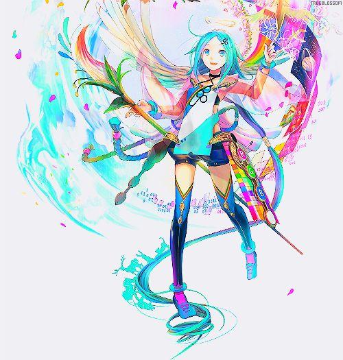 Colorful Anime Girl Colorful Anime Pinterest Colorful Anime