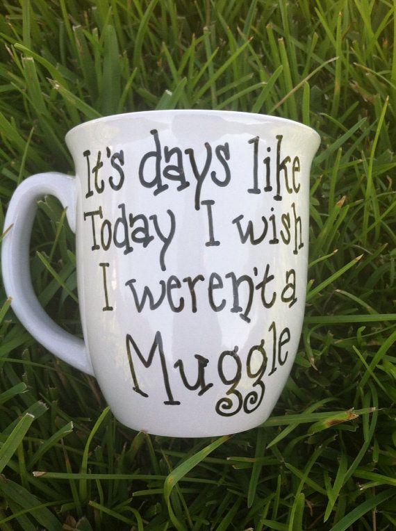 Coffee Mug Harry Potter Inspired Mug Muggle by JustABrushAndPaint, $8.00