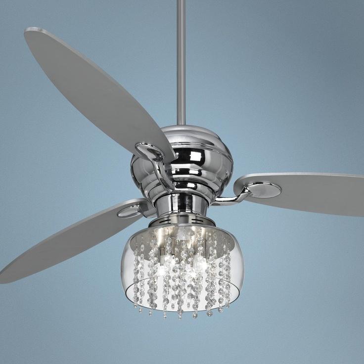 lights 60 spyder chrome ceiling fan with crystal discs light kit ebay. Black Bedroom Furniture Sets. Home Design Ideas