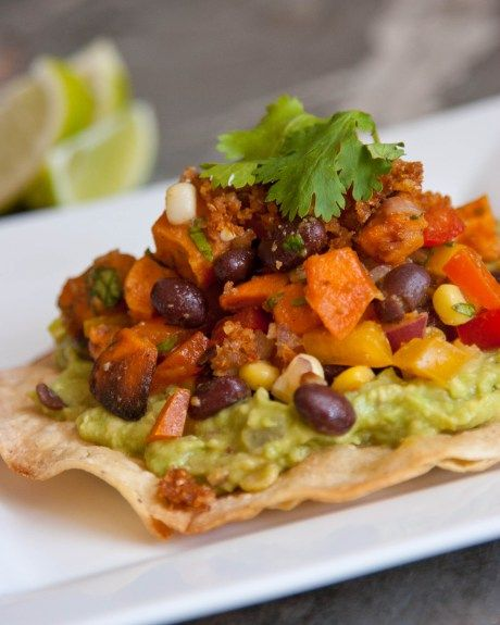 Southwestern Tostadas with a Roasted Yam and Black Bean Salsa | Vegan ...