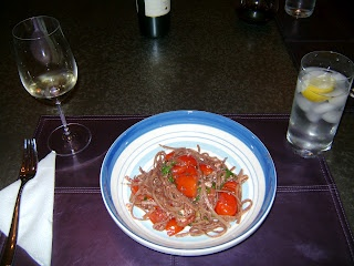 ... be afraid of carbs: Linguine with Tapenade, Tomatoes, and Arugula