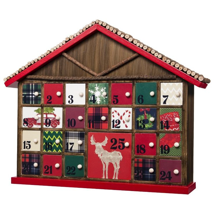 Threshold Rustic Advent Calendar Red Holiday Fun