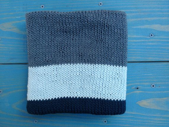 Hand knit Baby Blanket in Block pattern with hand crocheted edge ... Images -...