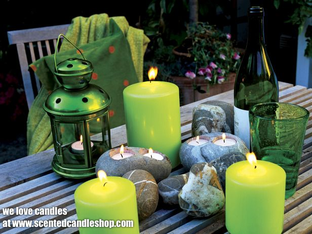 Candles votive candles and tea lights all around the decking or on