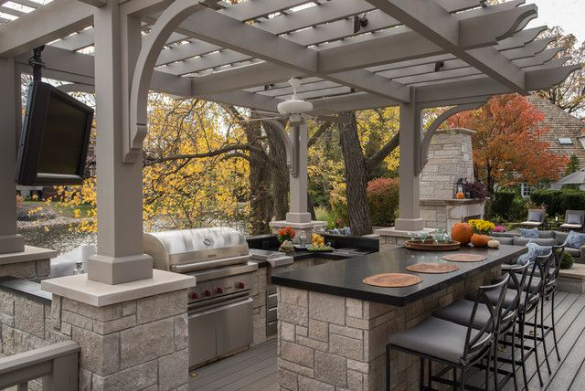 Outdoor bbq pergola wow backyard bonus pinterest for Outdoor kitchen under pergola